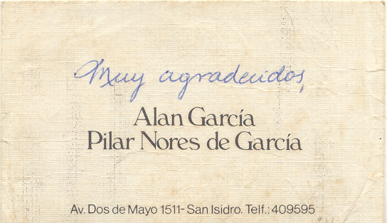 Tarjeta Alan Garcia